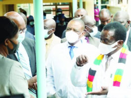 President Emmerson Mnangagwa commissioning a state-of-the-art private ward as Zvishavane District Hospital and Zvishavane Vocational Training Centre hostels constructed by mining giant Mimosa Mine to the tune of about US$1 million in Zvishavane yesterday.
