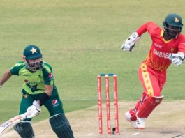 Fresh from a 3-1 win in South Africa, Pakistan relied on Mohammad Rizwan's unbeaten 82 to steer them to a competitive total of 149-7 after being put into bat at Harare Sports Club. Courtesy: Twitter (@ICC)