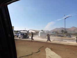 Police firing water canons